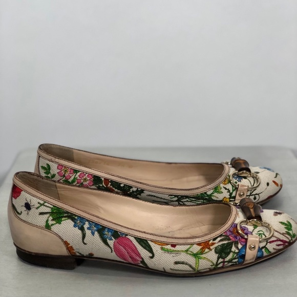 7783d2915 Gucci Shoes | Mini Flora Horsebit Bamboo Flats 75 Italy | Poshmark